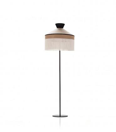 Lámpara de pie PAMELA pantalla blanca y base blanca negra1L E27 - ILUSORIA