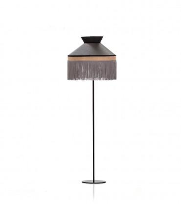 Lámpara de pie PAMELA pantalla negra y base negra saco 1L E27 - ILUSORIA