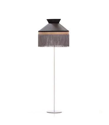 Lámpara de pie PAMELA pantalla negra y base blanca saco 1L E27 - ILUSORIA