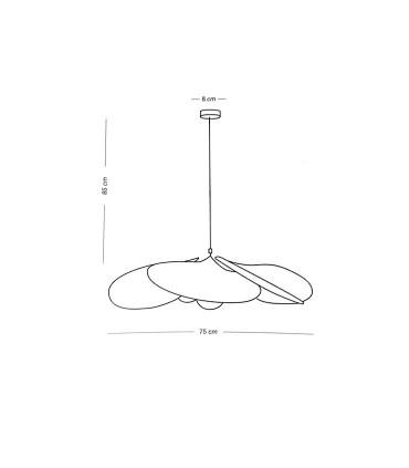 Dimensiones: Lámpara PALMITO rafia 1L E27 - ILUSORIA