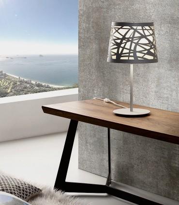 Lámpara de mesa TAPE Láser gris 1L E27 - ILUSORIA