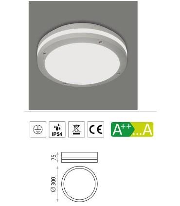 Características ACAI plafón techo exterior gris 2E27 Ø30 - ACB