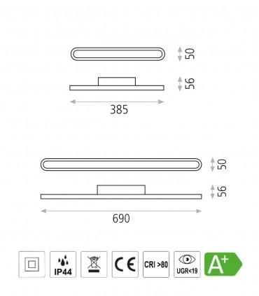 Características Adela aplique LED cromo arenado 37cm/67cm - ACB