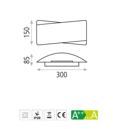 Dimensiones de apliques  Unax  - ACB