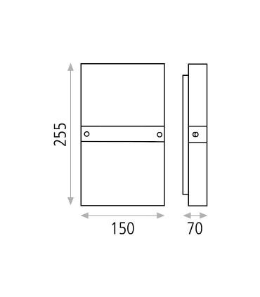Dimensiones: Aplique bombilla 2L E14 Milano - ACB