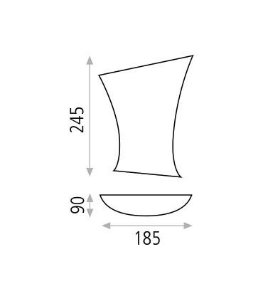 Dimensiones Aplique bombilla E14 Ondas - ACB