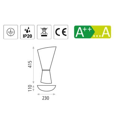 Características aplique 2 bombillas E27 Perla cromo, oro - ACB