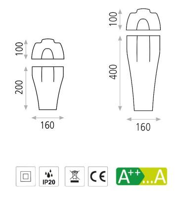 Características de apliques para bombilla E27 Bella - ACB