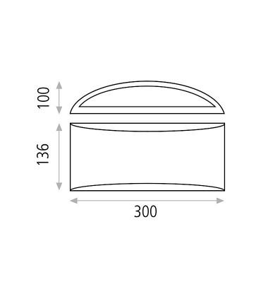 Dimensiones del aplique para bombilla E14 Dana - ACB