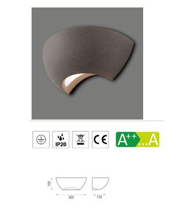 Características del aplique de cemento para bombilla E14 Ankara antracita - ACB