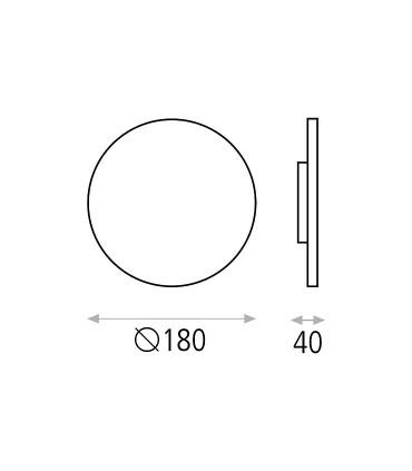 Dimensiones del aplique con luz indirecta Blas negro de ACB