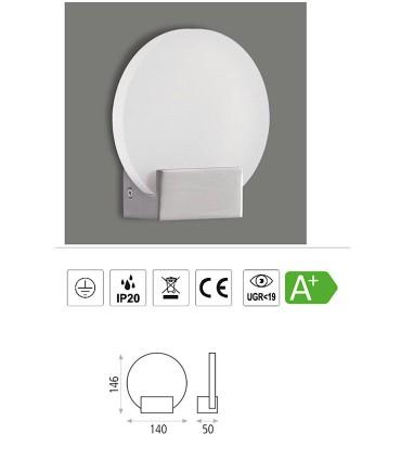 Características Noa, Aplique LED 2W 3000K Níquel - ACB