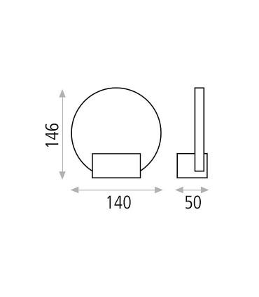 Dimensiones aplique de pared led NOA de ACB