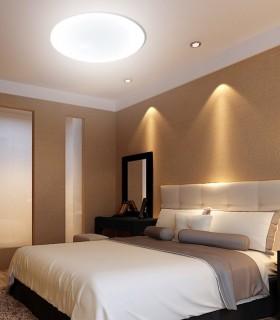 Plafón ZERO 55W 55cm regulable, 3673, imagen de ambiente en dormitorio.