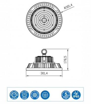 Características URANO, Campana industrial LED 200W IP65 - Mantra