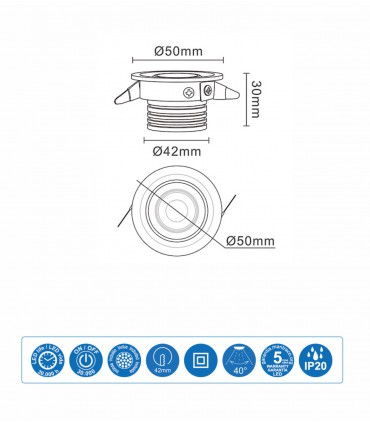 Características Foco Empotrable NEPTUNO LED 3W Negro Basculante - Mantra