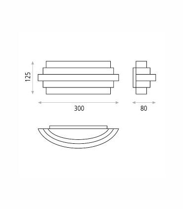 Dimensiones del aplique de pared LED Luxur de ACB