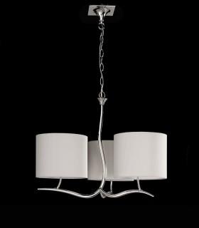 Lámpara Eve cromo 3 pantallas blanco roto. 1131 de Mantra