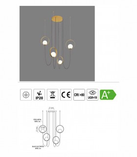Características lámpara Halo 4 luces LED de ACB
