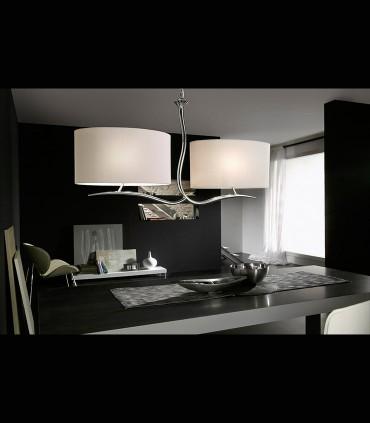 Lámpara EVE cromo 2 pantallas ovaladas blanco ref.1130 de Mantra. Imagen de ambiente.