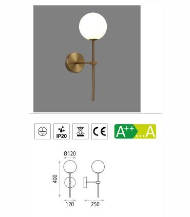 Características  aplique New Doris G9 LED Oro - ACB
