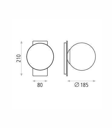 Dimensiones aplique Kin 5W negro - ACB