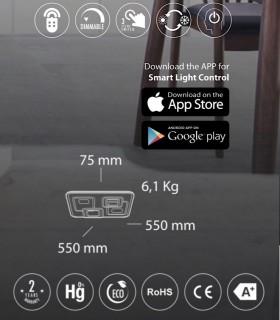 Características Plafón Retro LED Blanco-café c/mando 120W - Kelektron