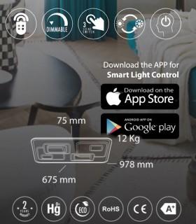 Características Plafón Retro LED Blanco-café Smart 180W - Kelektron