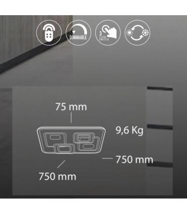 Características Plafón Retro LED Blanco-café c/mando 170W - Kelektron