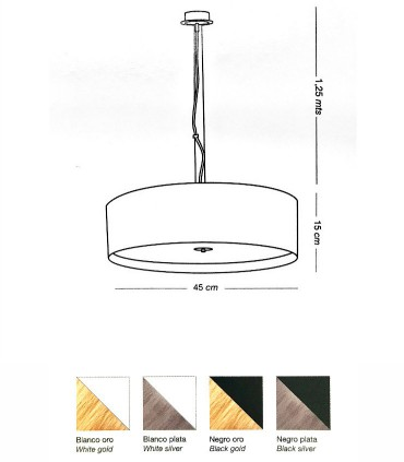 Medidas Lámpara colgante pequeña WIRE LED 36W - ILUSORIA