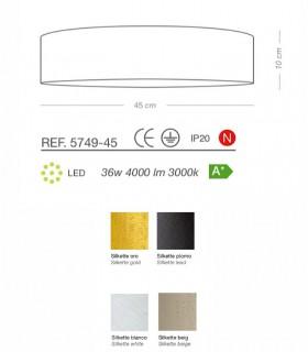 Características de los plafones  SILKETTE LED Ø45 36W - ILUSORIA