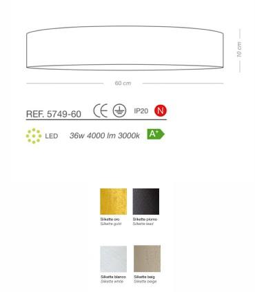Características Plafón  SILKETTE LED Ø60 36W - ILUSORIA