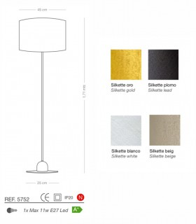 Características Lámpara de pie SILKETTE E27 Ø45 - ILUSORIA