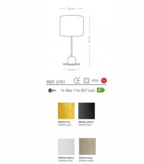 Características lámpara de mesa SILKETTE E27 Ø25 - ILUSORIA