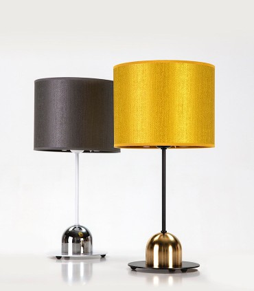 Lámparas de mesa SILKETTE Negro-oro satinado con pantalla oro y Blanco-cromo con pantalla Plomo - ILUSORIA