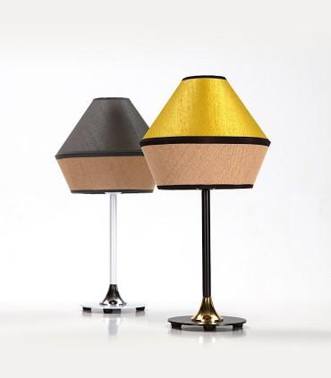 Lámparas de mesa TOSSA: color pantalla ORO y metal acabado Negro-oro y Plomo combinado con blanco-cromo - ILUSORIA