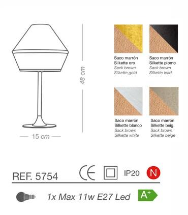 Características Lámpara de mesa TOSSA saco E27 - ILUSORIA