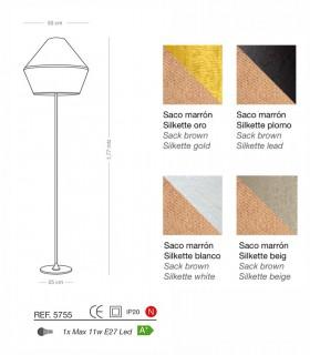 Lámpara de pie TOSSA saco E27 - ILUSORIA
