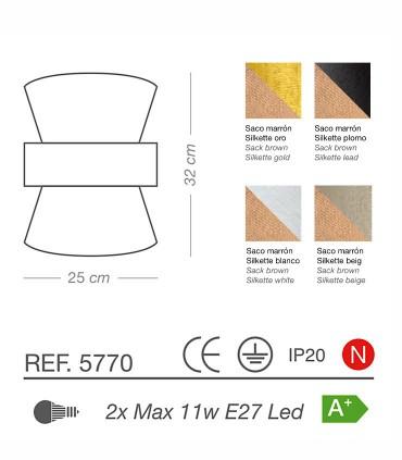 Características Aplique de pared TOSSA 2 luces E27 - ILUSORIA