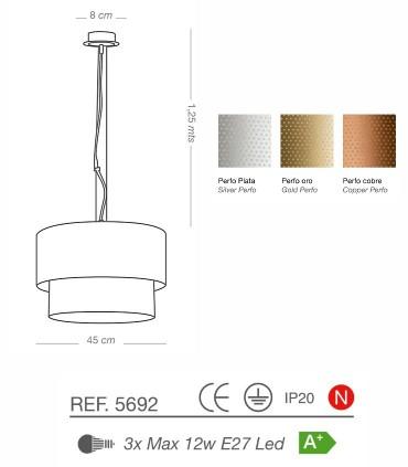 Características Lámparas colgantes PERFO 3L E27 Ø45 - ILUSORIA