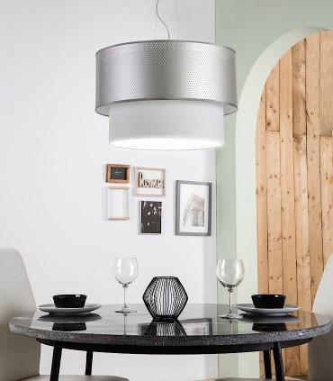 Lámpara colgante PERFO PLATA 3L E27 Ø45 - ILUSORIA