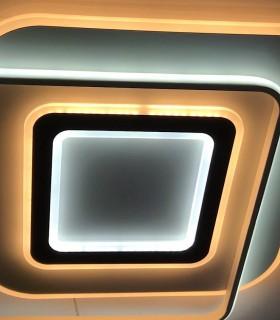 Plafón LED Lyra 100W CCT con distintas tonalidades de luz mezcladas en el mismo encendido