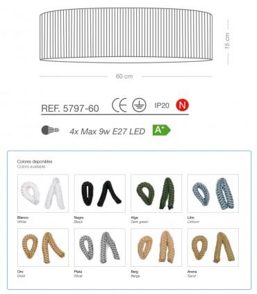 Características Plafón de techo CORDA 4 luces E27 Ø60 - ILUSORIA