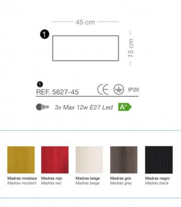 Características Plafón de techo MADRAS 3 luces E27 Ø45 - ILUSORIA