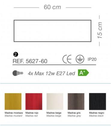 Características Plafón de techo MADRAS 4 luces E27 Ø60 - ILUSORIA