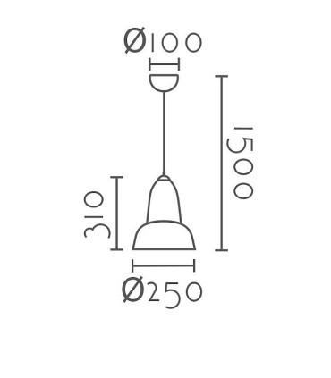 Dimensiones Colgante ND25 metal negro o cromo Ø25cm E27