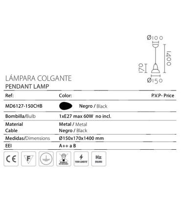 Características Colgante ND25P metal negro Ø15cm E27