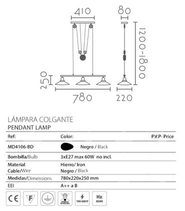 Características: Lámpara CONTRAPESO ND26 negro-latón 78cm 3L E27