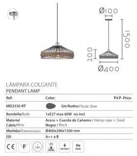 Características Lámpara colgante ND27 gris-cuerda Ø40cm 27