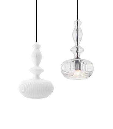 Colgantes ND28 cristal blanco o transparente Ø19cm E27